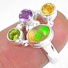 925 silver 3.83cts natural ethiopian opal peridot citrine ring size 5.5 r59186