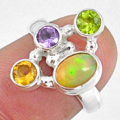 925 silver 4.02cts natural ethiopian opal peridot citrine ring size 5.5 r59204