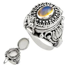 925 silver 3.38cts natural ethiopian opal poison box ring size 7.5 r41217