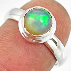 925 silver 2.42cts natural ethiopian opal round solitaire ring size 5.5 r26268
