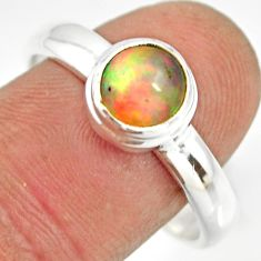 925 silver 2.68cts natural ethiopian opal round solitaire ring size 10 r26273