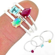 925 silver 3.14cts natural ethiopian opal ruby topaz 3 rings size 7.5 r85164