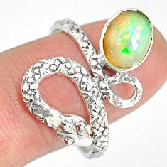 925 silver 3.06cts natural ethiopian opal snake solitaire ring size 9.5 r82526