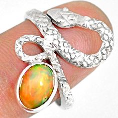 925 silver 3.07cts natural ethiopian opal snake solitaire ring size 8.5 r82531