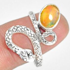 925 silver 3.07cts natural ethiopian opal snake solitaire ring size 8 r82538