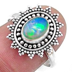 925 silver 2.05cts natural ethiopian opal solitaire ring jewelry size 8.5 r57491