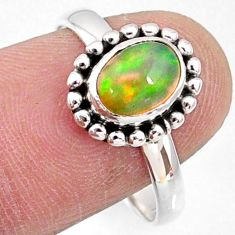 925 silver 2.10cts natural ethiopian opal solitaire ring jewelry size 7.5 r64556