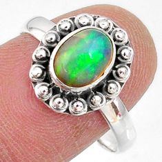 925 silver 2.42cts natural ethiopian opal solitaire ring jewelry size 8.5 r64599