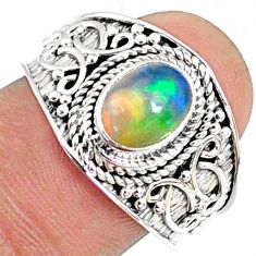925 silver 2.17cts natural ethiopian opal solitaire ring jewelry size 8.5 r69032