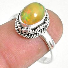 925 silver 2.97cts natural ethiopian opal solitaire ring jewelry size 8.5 r75364