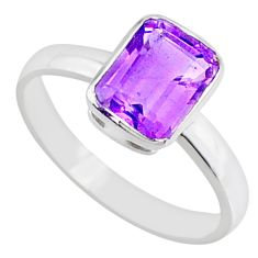 925 silver 2.02cts natural faceted amethyst octagan solitaire ring size 8 r70864