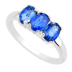 925 silver 2.96cts natural faceted kyanite oval shape ring size 7.5 r82772