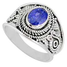 925 silver 2.19cts natural faceted tanzanite oval solitaire ring size 8 r60828
