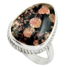 925 silver 14.50cts natural firework obsidian solitaire ring size 8.5 r28718