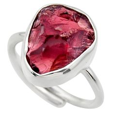 925 silver 7.78cts natural garnet rough adjustable solitaire ring size 7 r29675