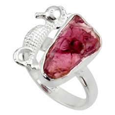 925 silver 7.67cts natural garnet rough seahorse solitaire ring size 8 r29984