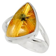 925 silver 6.04cts natural golden half star rutile solitaire ring size 7 d39084