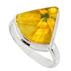 925 silver 7.97cts natural golden half star rutile solitaire ring size 9 r27378