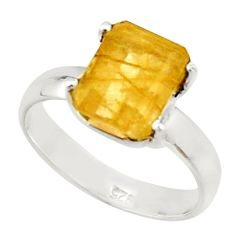925 silver 4.23cts natural golden rutile fancy solitaire ring size 8 r22769