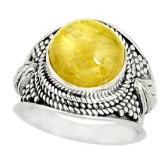 925 silver 6.54cts natural golden rutile round solitaire ring size 8 r27552