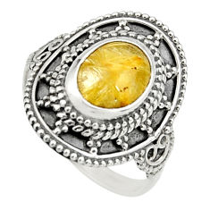 925 silver 3.24cts natural golden rutile solitaire ring jewelry size 7.5 r26769