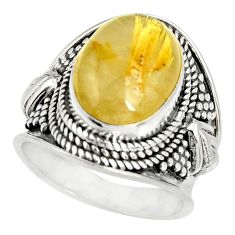 925 silver 6.93cts natural golden rutile solitaire ring jewelry size 6.5 r27548