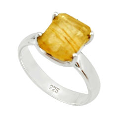 925 silver 4.08cts natural golden rutile solitaire ring jewelry size 7 r22764
