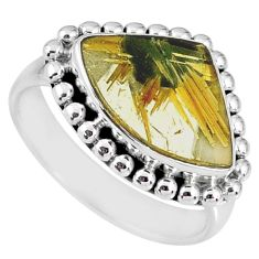 925 silver 6.58cts natural golden star rutilated quartz fancy ring size 8 r60343