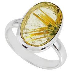 925 silver 7.53cts natural golden star rutilated quartz oval ring size 9 r60324