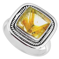 925 silver 6.02cts natural golden star rutilated quartz ring size 8.5 r60377