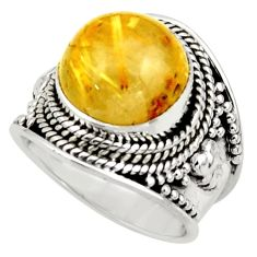 925 silver 7.02cts natural golden tourmaline rutile solitaire ring size 6 r41753