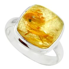 925 silver 6.27cts natural golden tourmaline rutile solitaire ring size 7 r39378
