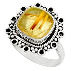 925 silver 5.06cts natural golden tourmaline rutile solitaire ring size 7 r52608