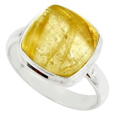 925 silver 6.54cts natural golden tourmaline rutile solitaire ring size 8 r39376