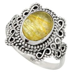 925 silver 4.51cts natural golden tourmaline rutile solitaire ring size 8 r40484
