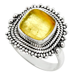925 silver 5.57cts natural golden tourmaline rutile solitaire ring size 8 r52604