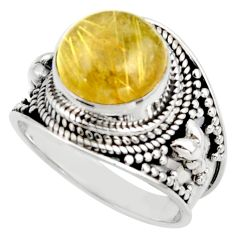 925 silver 6.96cts natural golden tourmaline rutile solitaire ring size 9 r41759
