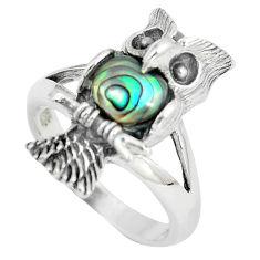 925 silver 1.38cts natural green abalone paua seashell owl ring size 8 c12681