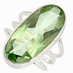 925 silver 13.65cts natural green amethyst oval solitaire ring size 7.5 r27103
