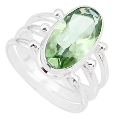925 silver 8.03cts natural green amethyst oval solitaire ring size 9 r85004