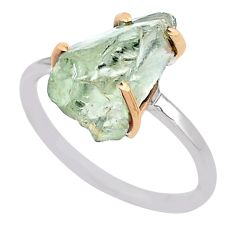 925 silver 5.78cts natural green amethyst raw 14k gold ring size 9 t47137