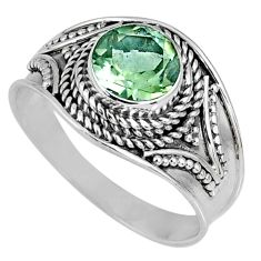 925 silver 2.92cts natural green amethyst round solitaire ring size 8.5 r58527
