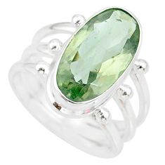 925 silver 7.55cts natural green amethyst solitaire ring jewelry size 7.5 r85019