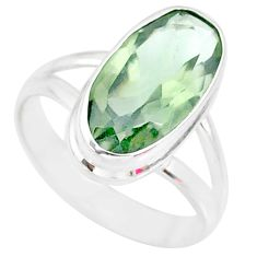 925 silver 7.94cts natural green amethyst solitaire ring jewelry size 8 r84994
