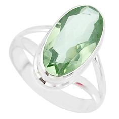 925 silver 7.53cts natural green amethyst solitaire ring jewelry size 8 r85012