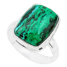 925 silver 8.22cts natural green azurite malachite solitaire ring size 7 t21500