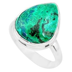 925 silver 12.01cts natural green azurite malachite solitaire ring size 8 t21493