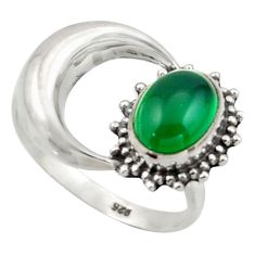 925 silver 3.32cts natural green chalcedony half moon ring jewelry size 8 r41764