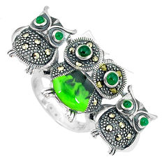925 silver natural green chalcedony marcasite owl ring jewelry size 6 c16020