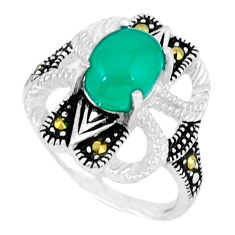 925 silver natural green chalcedony marcasite ring jewelry size 5.5 c17648